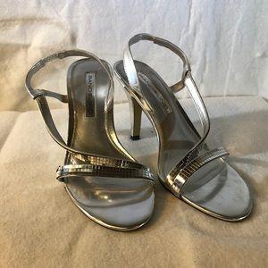 Bandolino silver heels sandals Sz 6.5